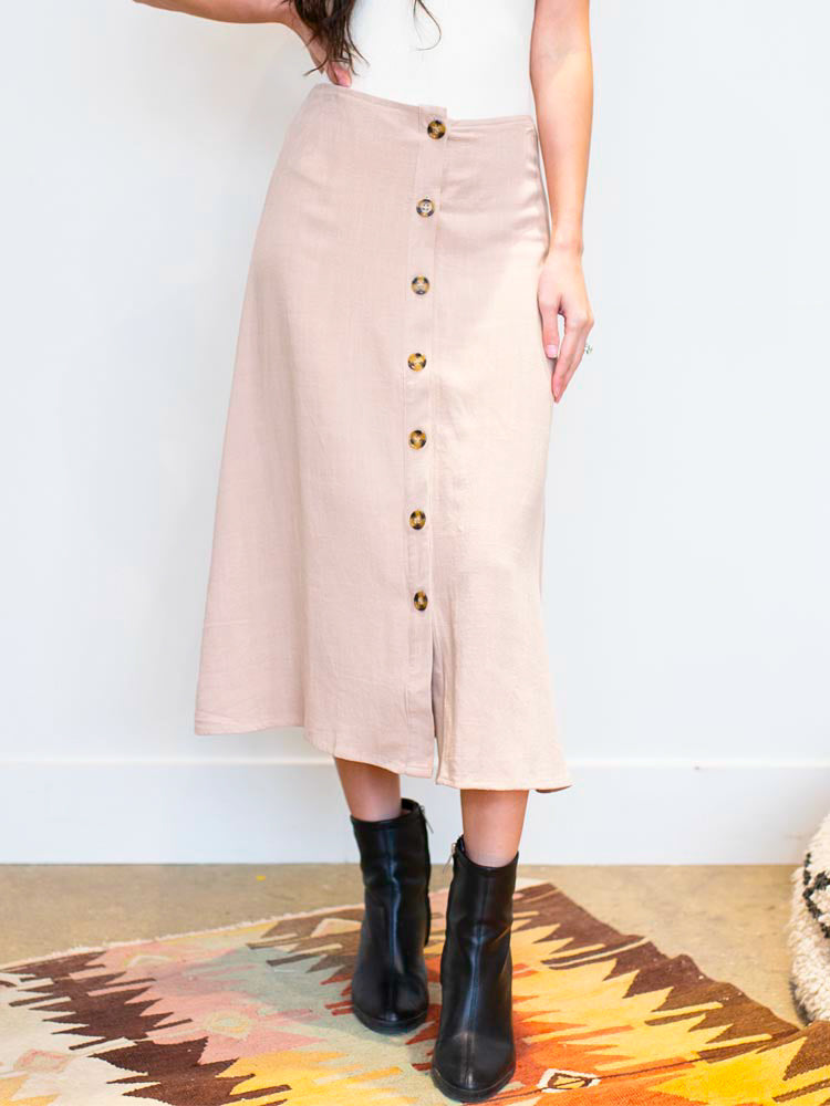Tan Woven Button Down Midi Skirt