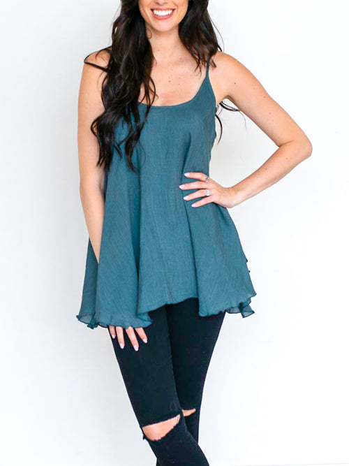 Teal Sleeveless Flowy Top