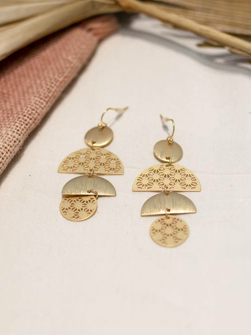 Gold Half Moon Dangle Earring