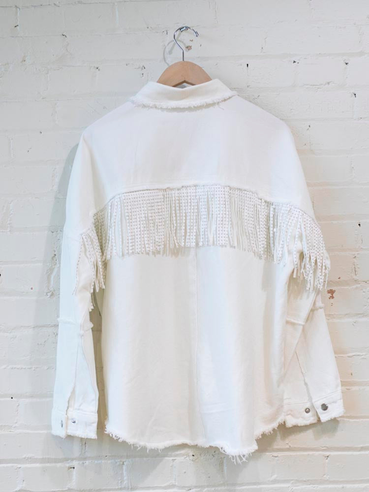 White Studded Fringe Shacket