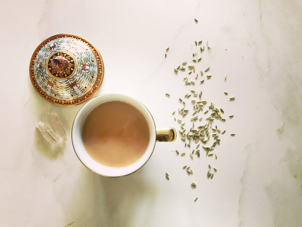 Björn's Homemade Honey Chai Masala Tea with quartz crystals and garden-grown fennel seeds