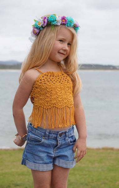 Crochet Girls Halter Top - Lace Shells