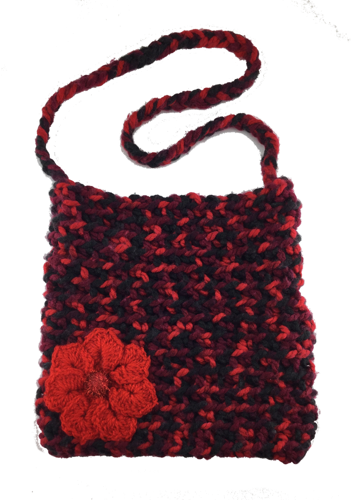 Crochet Boho Tote Bag Red/Black