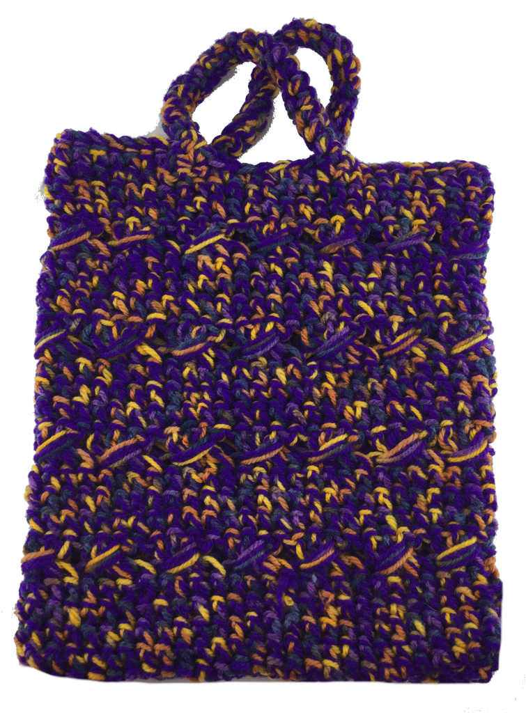 Crochet Boho Tote Bag - Shades of Purple/Yellow