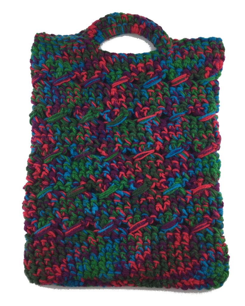 Crochet Boho Tote Bag - Green/Red/Blue