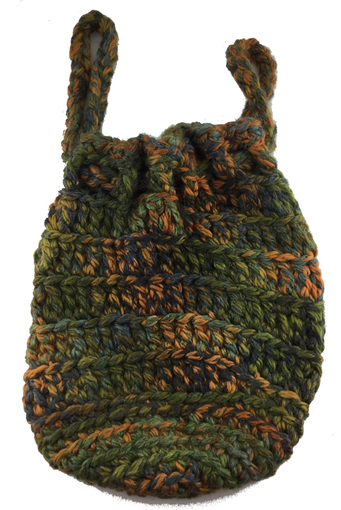 Crochet Boho Drawstring Bag - Chunky Green Shades