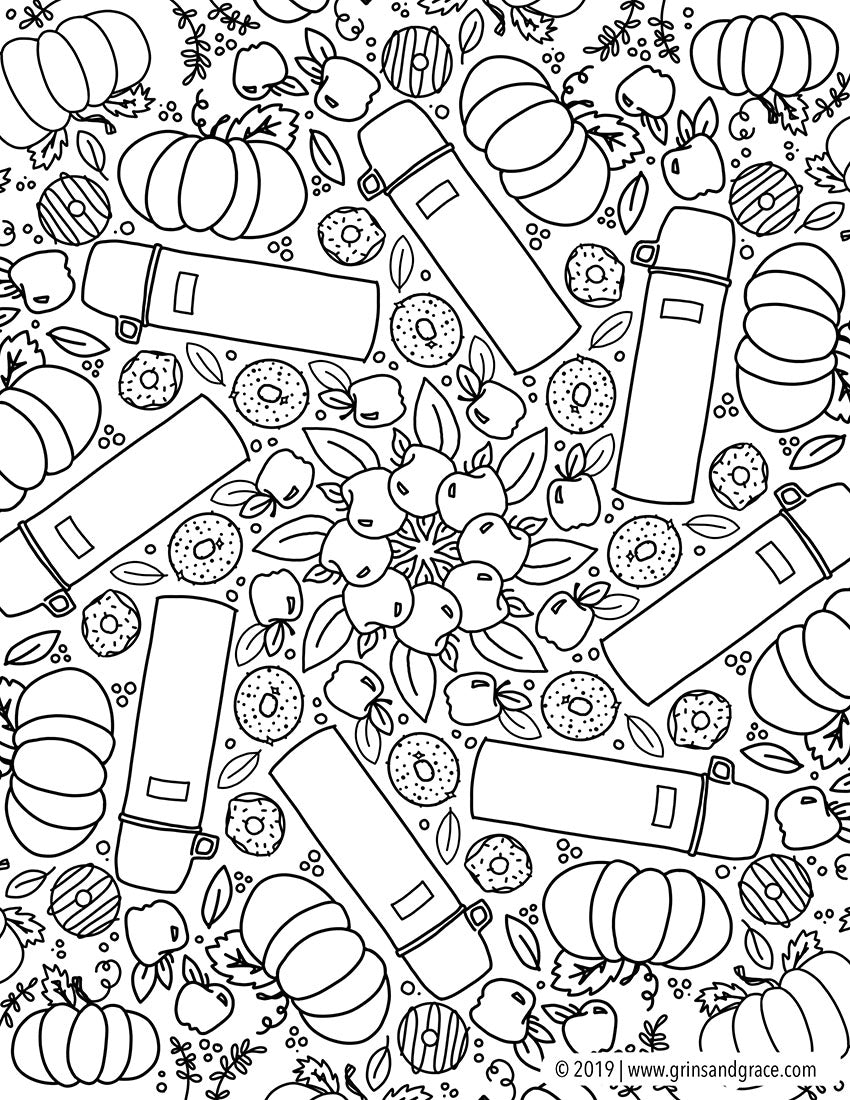 October Coloring Pages By Grins Grace
