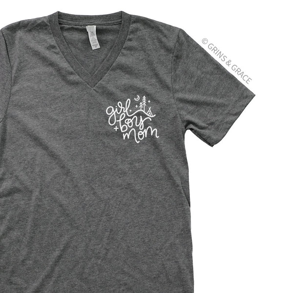 """GIRL + BOY MOM"" T-SHIRT IN DEEP GREY - Grins & Grace"