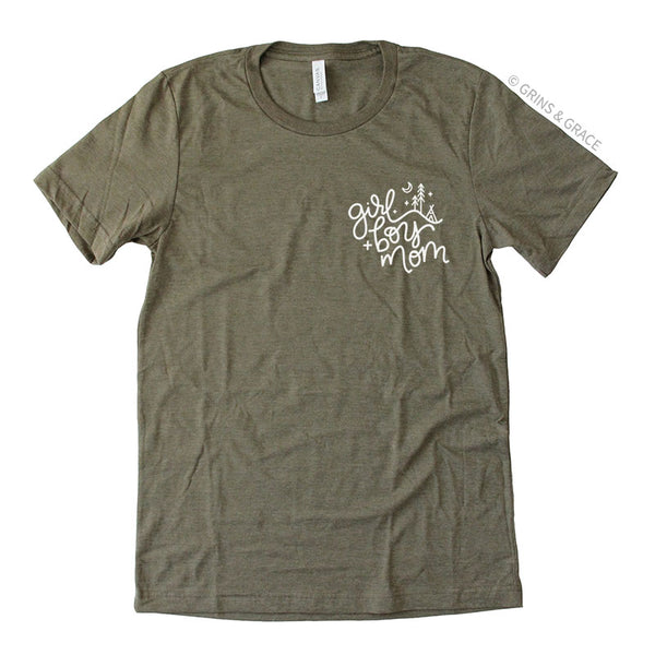 """GIRL + BOY MOM"" T-SHIRT IN OLIVE GREEN - Grins & Grace"