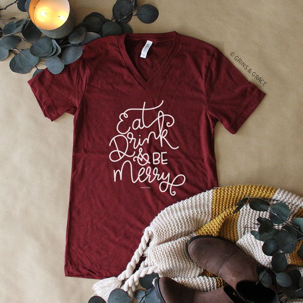 """EAT, DRINK, AND BE MERRY"" HOLIDAY MOM T-SHIRT IN CRANBERRY"