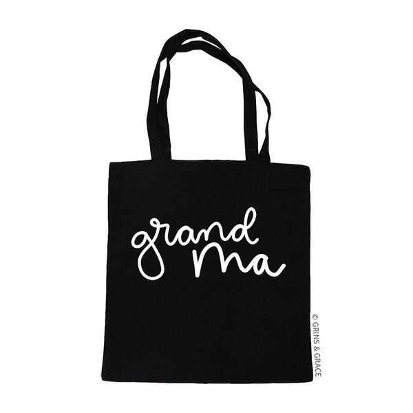 """GRANDMA"" MARKET TOTE IN BLACK - Grins & Grace"