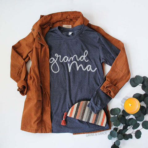 """GRANDMA"" LONG SLEEVE T-SHIRT IN NAVY - Grins & Grace"