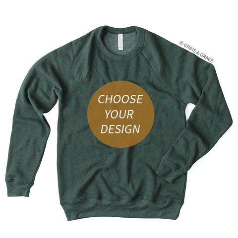 PRE-ORDER | HEATHER EVERGREEN CREW NECK SWEATSHIRT - Grins & Grace
