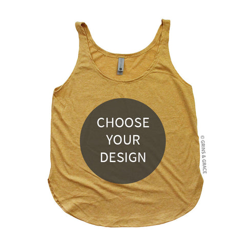 HEATHER MUSTARD SLOUCHY TANK (XS-2XL)