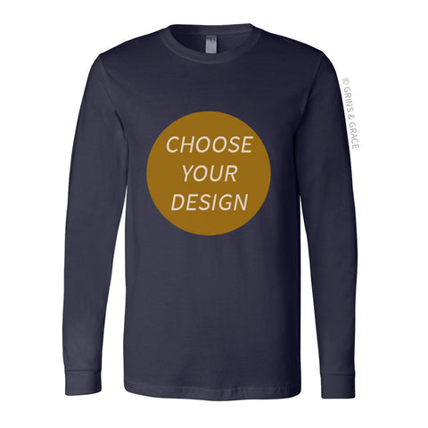 PRE-ORDER | NAVY COTTON CREW NECK LONG SLEEVE SHIRT