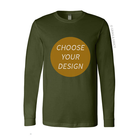 PRE-ORDER | OLIVE COTTON CREW NECK LONG SLEEVE SHIRT