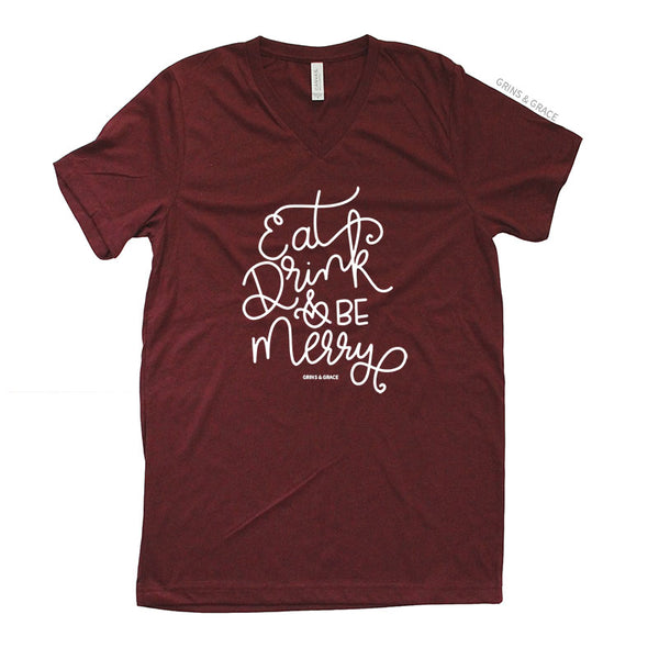 """EAT, DRINK, AND BE MERRY"" HOLIDAY MOM T-SHIRT IN CRANBERRY - Grins & Grace"