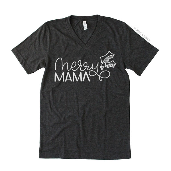 """MERRY MAMA"" HOLIDAY MOM T-SHIRT IN CHARCOAL"