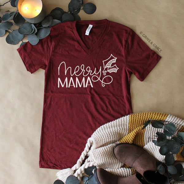 """MERRY MAMA"" HOLIDAY MOM T-SHIRT IN CRANBERRY"