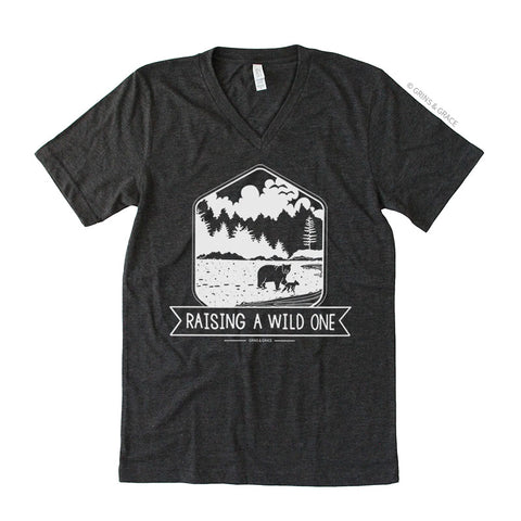 """RAISING A WILD ONE"" MAMA BEAR T-SHIRT IN CHARCOAL V-NECK - Grins & Grace"