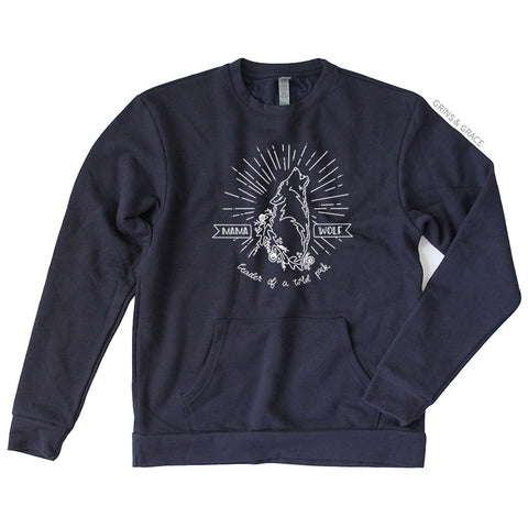 """MAMA WOLF"" MOM SWEATSHIRT IN NAVY - Grins & Grace"