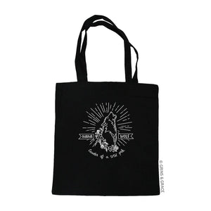 """MAMA WOLF"" MOM MARKET TOTE IN BLACK - Grins & Grace"