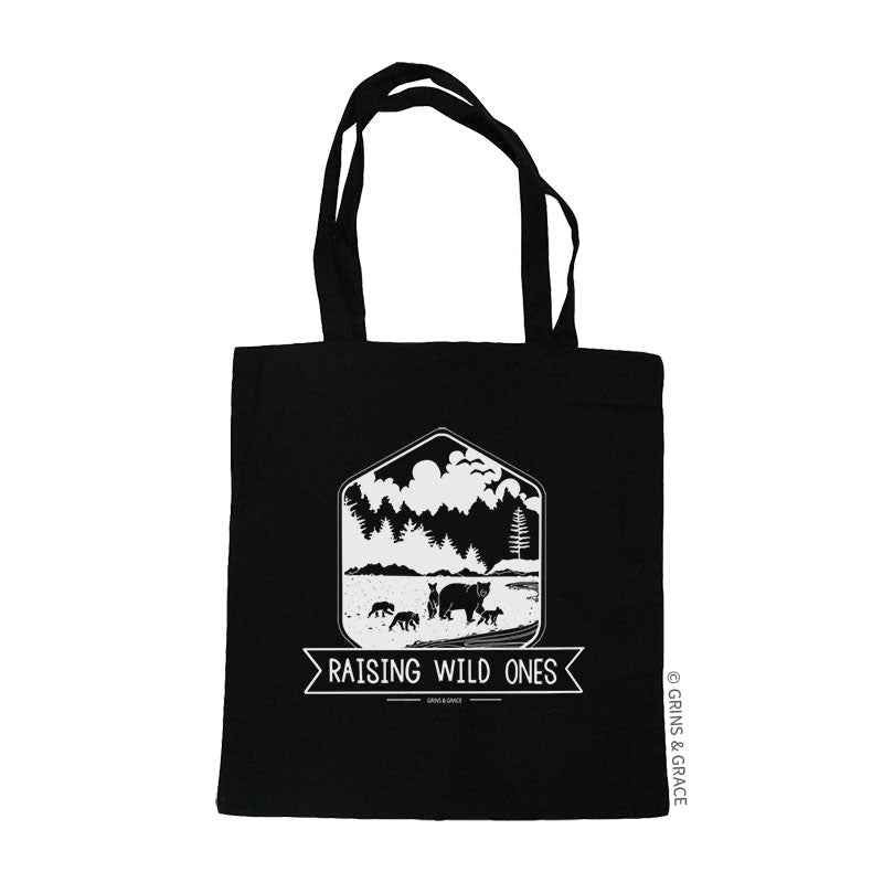 """RAISING WILD ONES"" MOM MARKET TOTE IN BLACK - Grins & Grace"