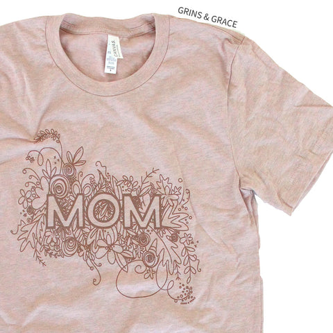 """FLORAL MOM"" T-SHIRT IN BLUSH & ROSE GOLD - Grins & Grace"