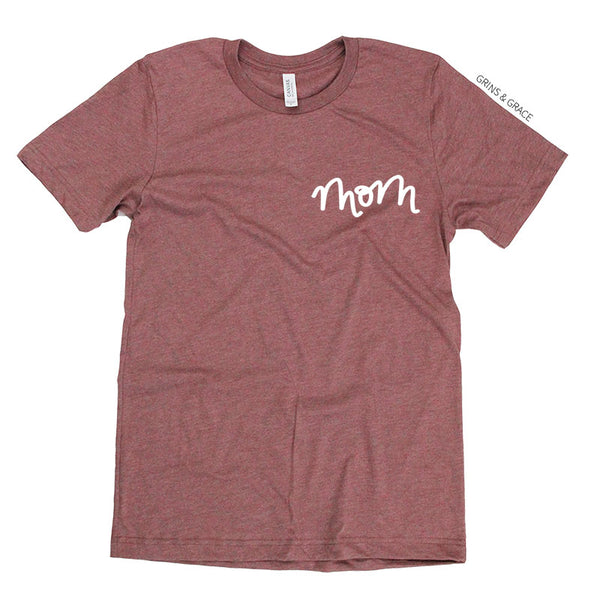"""MOM"" T-SHIRT IN ROSE - Grins & Grace"