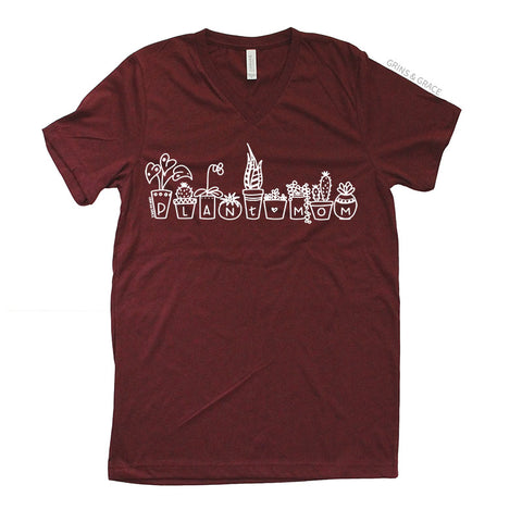 """PLANT MOM"" - PLANT LADY T-SHIRT IN CRANBERRY - Grins & Grace"