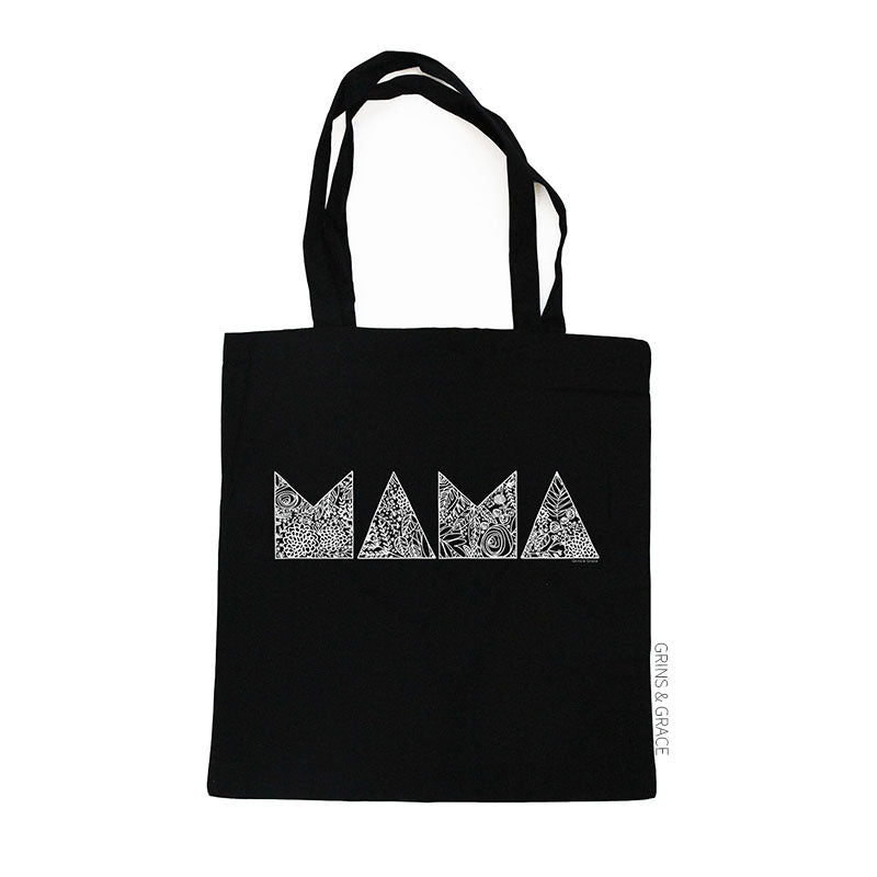 """MODERN MAMA"" MOM MARKET TOTE IN BLACK - Grins & Grace"