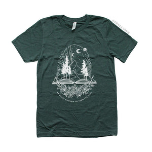 """BE BRAVE ENOUGH TO TURN THE PAGE"" MOM T-SHIRT IN EVERGREEN"