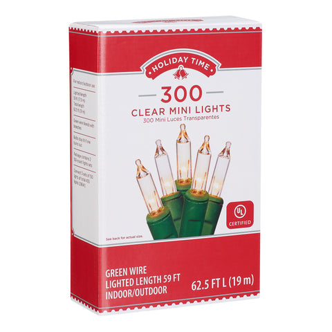Mini Clear Christmas Lights, 59', 300 Count, Green Wire