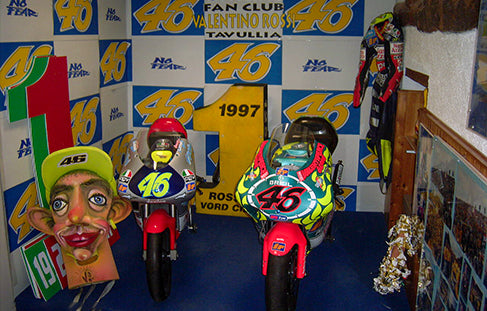 The Aprilia RS 125 (left) and 250 (right) with which Rossi won the 125cc World Championship in 1997 and the 250cc World Championship in 1999.