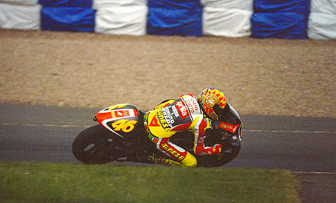 Valentino Rossi in action at the 1999 British Grand Prix. He would go on to win the race.