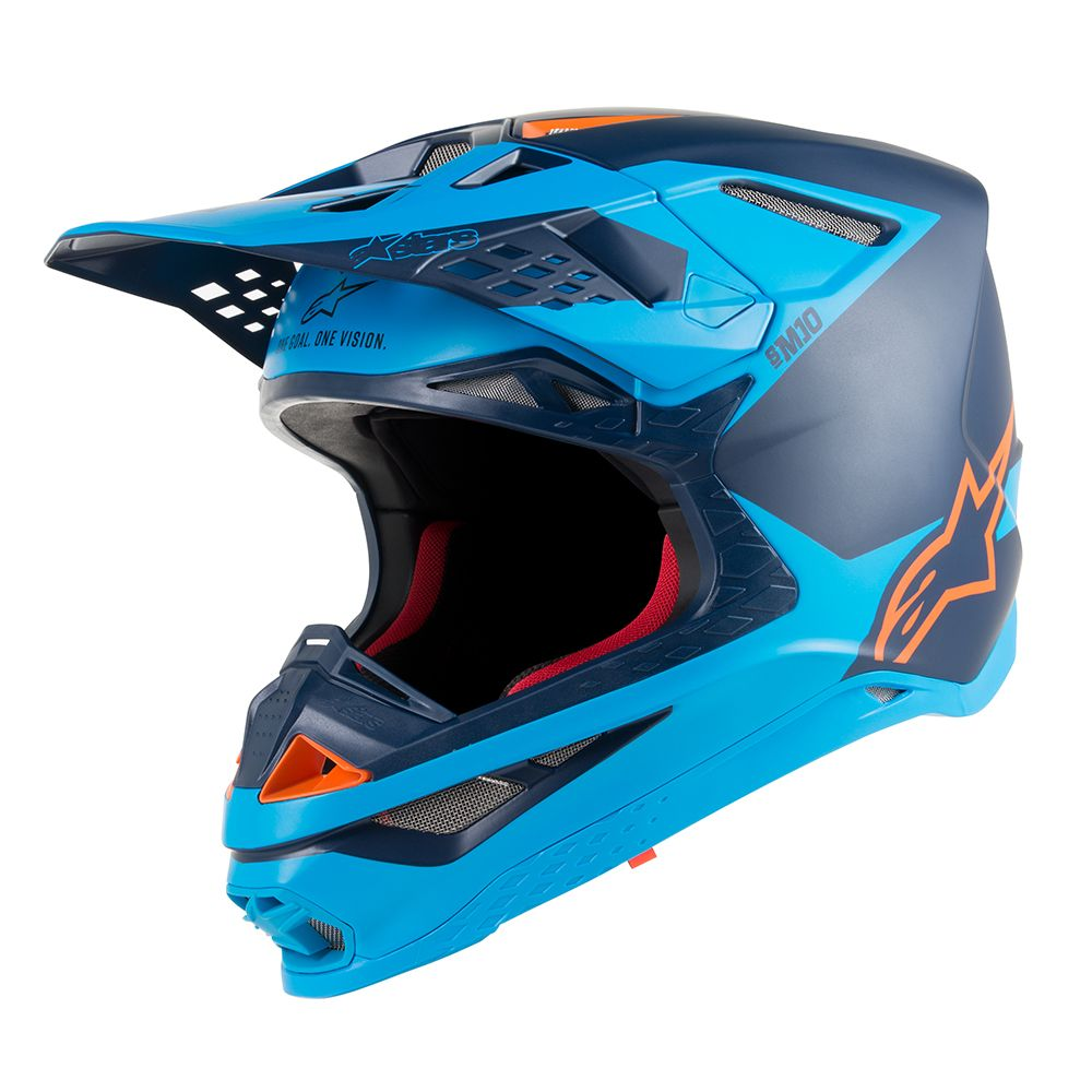 Black Aqua Orange Fluo Helmet-Front View