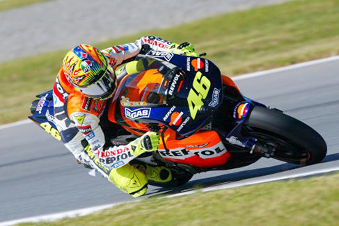 Rossi riding his Honda RC211V MotoGP bike