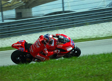 Stoner during the MotoGP pre-season test session at Sepang International Circuit in Malaysia in January 2007