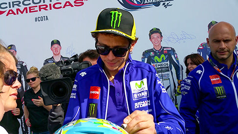 Rossi during an autograph session at the 2015 Grand Prix of the Americas