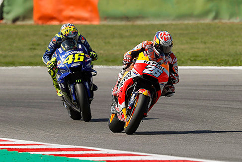 Rossi and Pedrosa at the 2018 San Marino Grand Prix and the 2018 Japanese Grand Prix