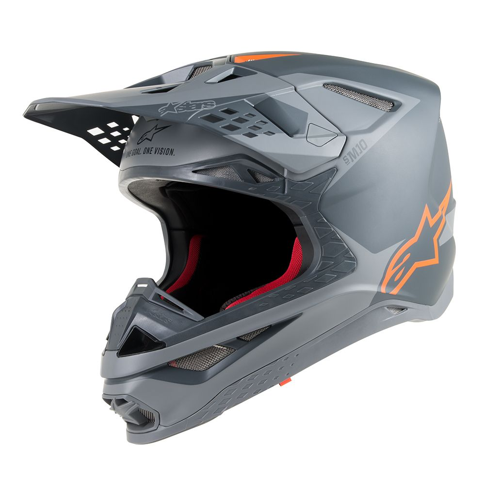 Anthracite Gray Orange Fluo Helmet-Front View