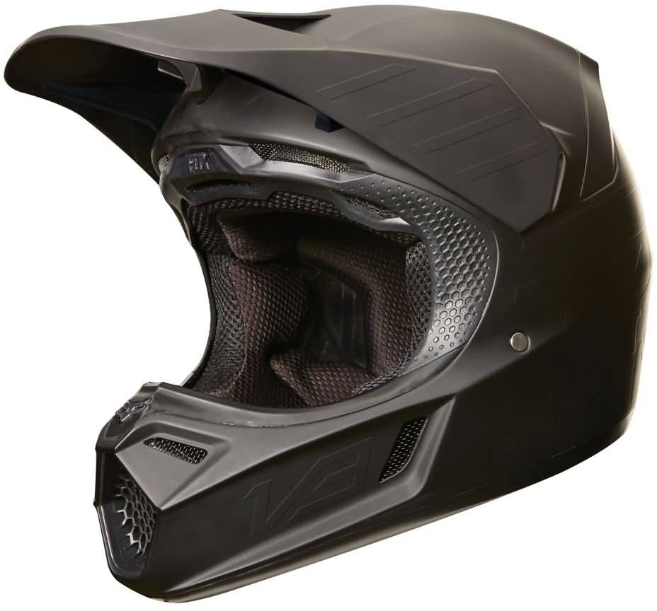 Fox Racing V3 Matte Black Helmet Right Side View