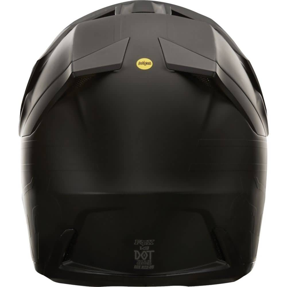 Fox Racing V3 Matte Black Helmet Back View