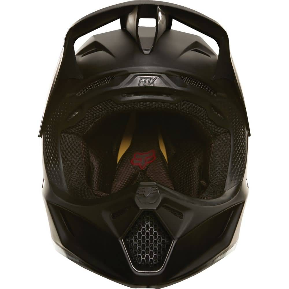 Fox Racing V3 Matte Black Helmet Front View