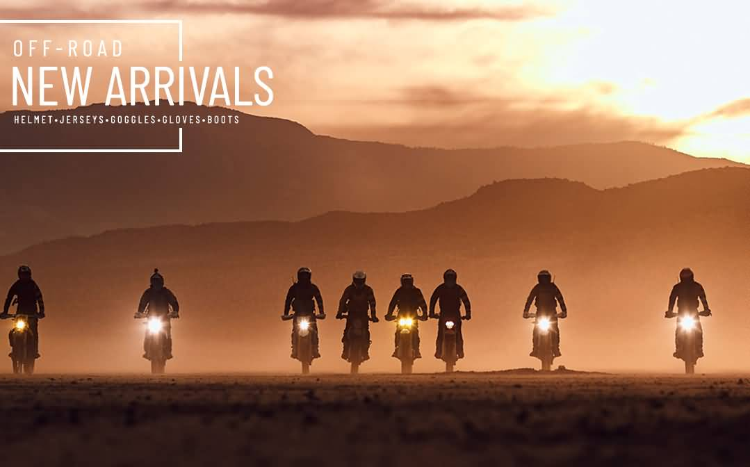 A group of offroad riders and a text saying Off-road New Arrivals