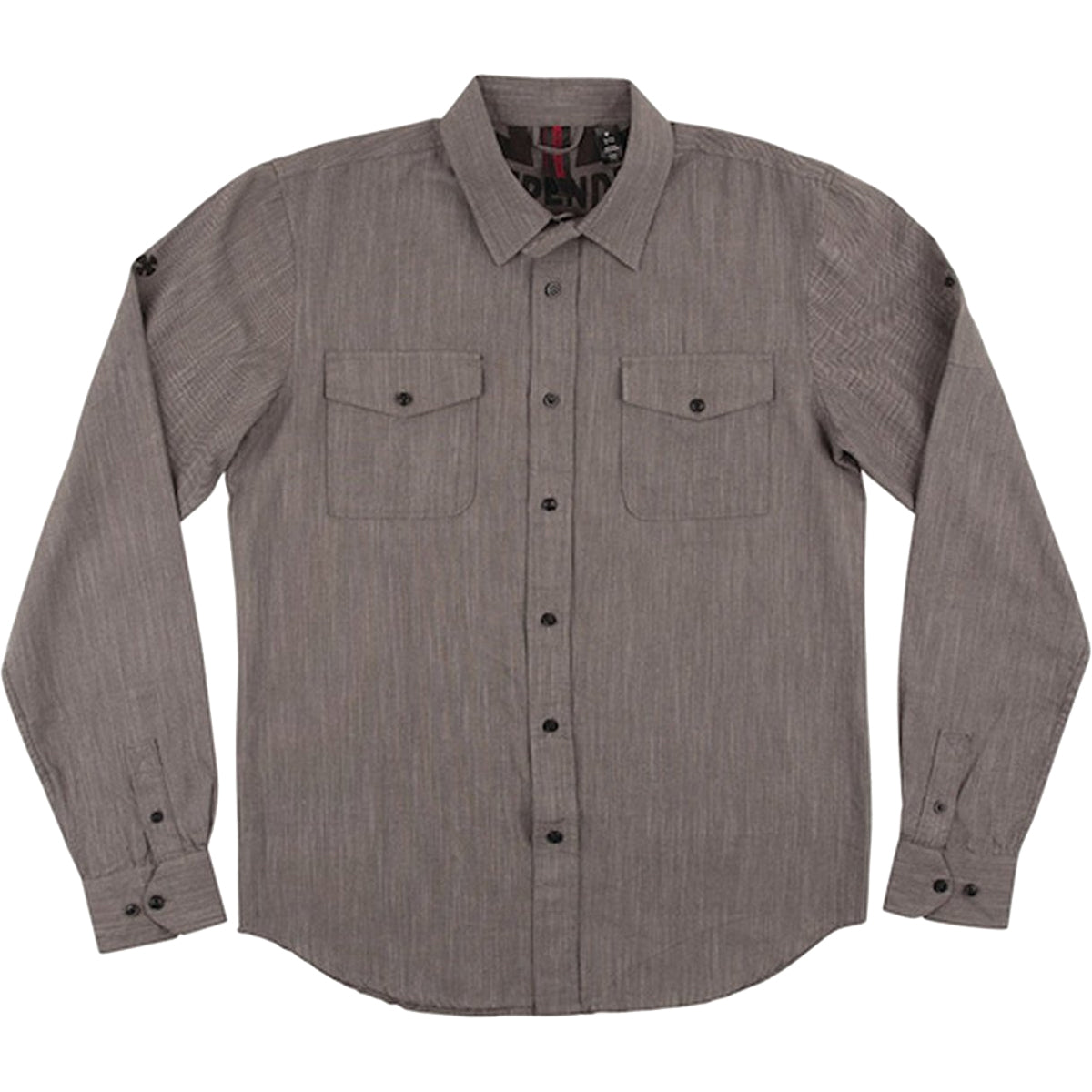 Independent Struggle Men's Button Up Long-Sleeve Shirts - Dark Grey Chambray