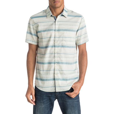Quiksilver Aventail Men's Button Up Short-Sleeve Shirts - Moroccan Blue