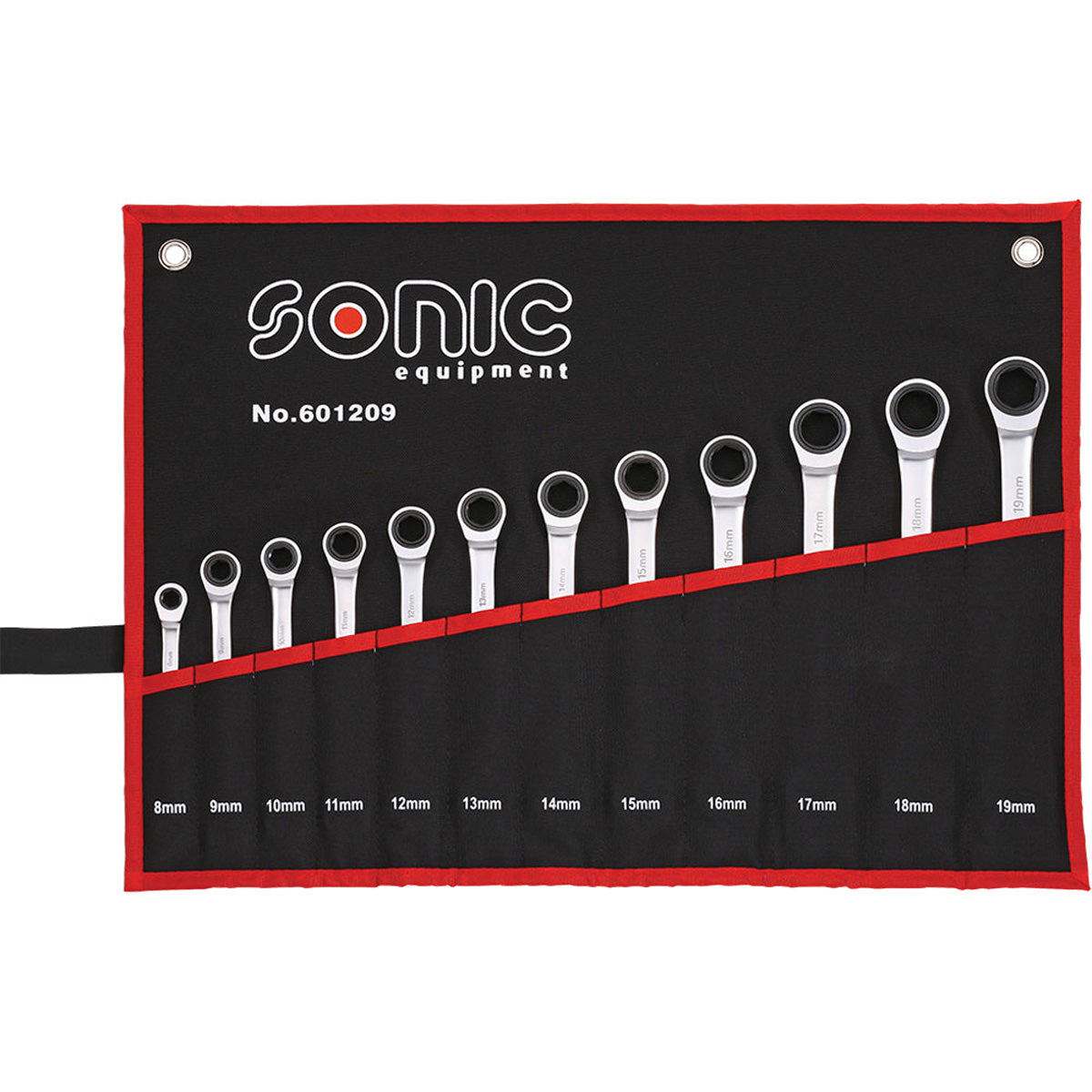 Sonic Tools Flat Ratcheting Wrench 6pt. Set in Pouch, 12pcs Harware Tools - 601209