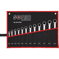 Sonic Tools Flat Ratcheting Wrench 6pt. Set in Pouch, 12pcs Harware Tools