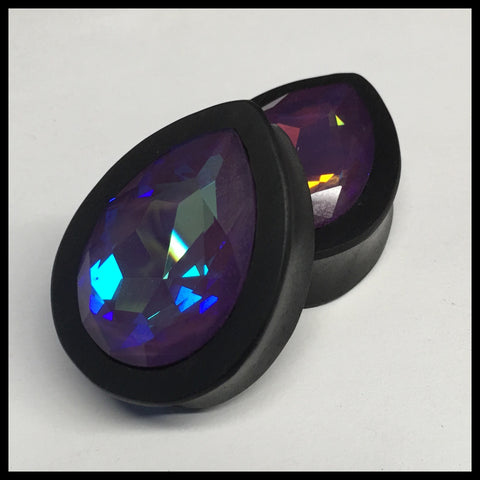 Ebony Swarovski Large Ultra Purple AB Teardrop